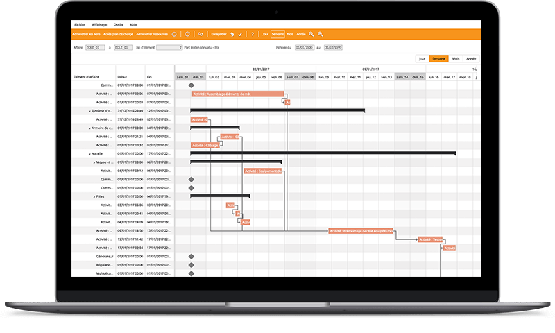 Hero affaires Gantt - graphique de gestion à l'affaire